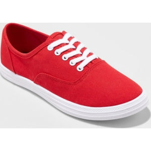 NEW Mossimo Lace-Up Classic Red Canvas Sneakers